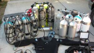Corsi sub avanzati, foto di attrezzatura subacquea per immersioni tek